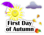 Set of stickers. First Day of Autumn. — 图库矢量图片