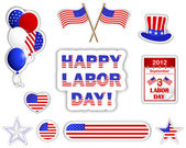 Labor day stickers. — Stock Vector