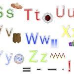 English Alphabet stickers. — Stock Vector