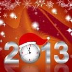 Silver 2013 with clock in Santa — Stock Vector #14616119