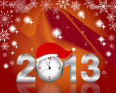 Silver 2013 with clock in Santa — 图库矢量图片