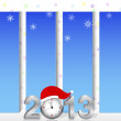 New Year. Vertical billboards with the silver 3d 2013. — Stock Vector
