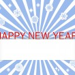 Stickers Happy New Year, snowflakes and blank banner. — Imagens vectoriais em stock