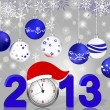Silver 2013 with clock in Santa — Imagen vectorial