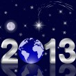 3d 2013 New Year with a globe. — Stock Vector