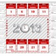 Calendar 2013 with holiday calendar icon for january. — Imagens vectoriais em stock