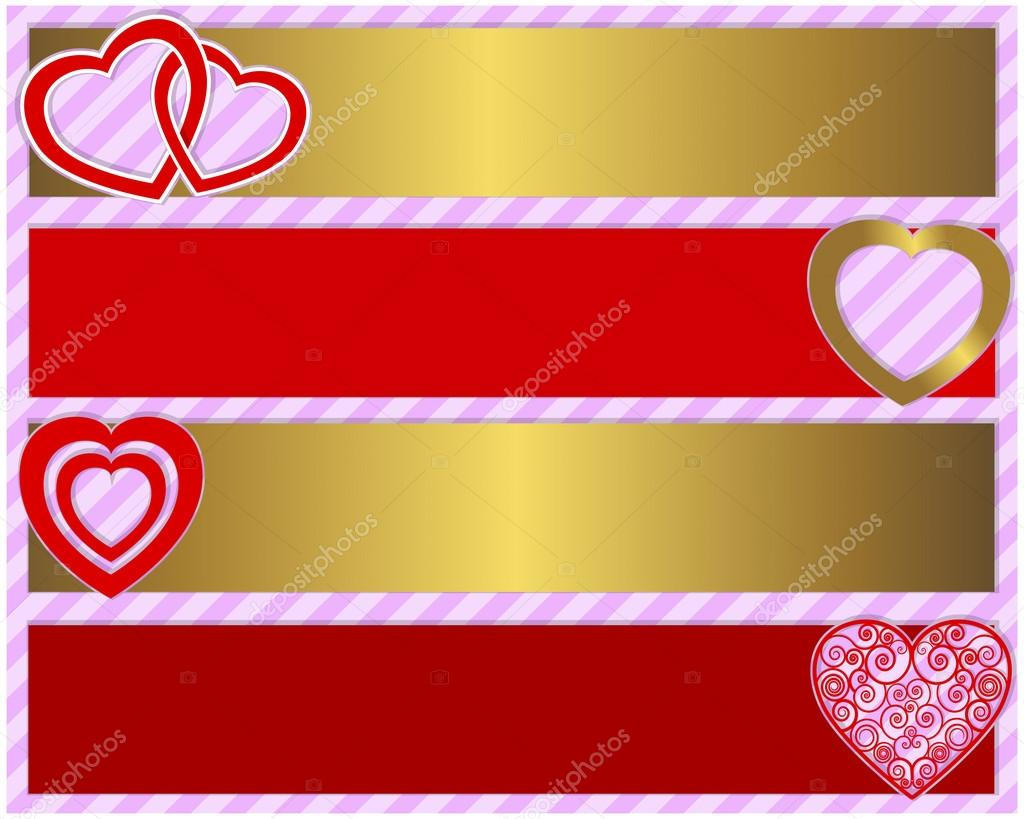 Valentine's day set of four banners with various hearts. Vector illustration. — Stock Vector #18651897