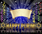 Purim background with Torah scroll. — ストックベクタ