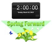 Horario comienza. 10 de marzo de 2013. — Vector de stock