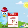 Stock Vector: April Fool's Day. Blue Bird with calendar.