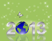 Earth Day background. Silver 3-D 2013 with globe. — Cтоковый вектор