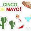 Cinco De Mayo. Set of stickers. - Imagen vectorial