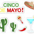 Cinco De Mayo. Set of stickers. - Stok Vektör