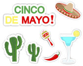 Cinco De Mayo. Set of stickers. — Vector de stock