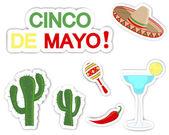 Cinco de mayo. uppsättning av klistermärken. — Stockvektor