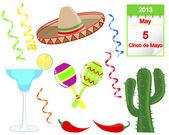 синко де майо. набор элементов, праздник. — Cтоковый вектор