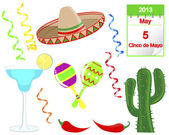 Cinco De Mayo. Set of holiday elements. — ストックベクタ