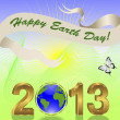 Earth Day background with gold 3-D 2013. - Stock Vector