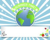 Summer time. Banner with stickers. — Stock Vector