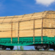 Wagon laden with boards — Stock Photo