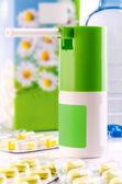 Spray and pill box — Stock Photo