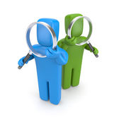Group of with magnifying glasses — Stock Photo