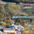 Landscape with train shot on a tilt shift lens — Stock Photo