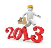 Worker run to new year — Stock Photo
