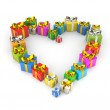 Gifts arranged in shape of a heart — Stock Photo