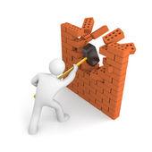 Man smashes muur — Stockfoto