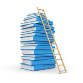 Book stack with stair — Stok fotoğraf