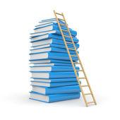 Pila de libro con escalera — Foto de Stock