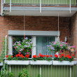 Balcony with flowers - Stockfoto