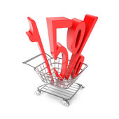 Fifteen percent symbol in shopping cart — Stock Photo