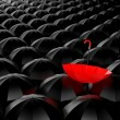 Stockfoto: Standing out from crowd. Umbrellmetaphor