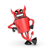 Devil leaning on an imaginary object — Stock Photo