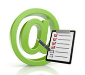 Email sign with clipboard — Stock Photo