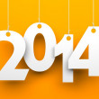White tags with 2014 on orange background — Stock Photo