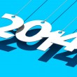 White tags with 2014 on blue background — Stock Photo