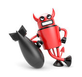 Robodevil with bomb — Stock Photo
