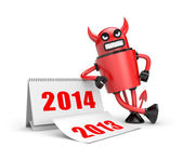 Devil with calendar — Stock Photo