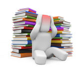 Headache from books. Image contain clipping path — Stock Photo