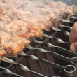 Stock Photo: Barbecue meat on skewers