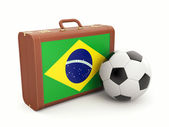 Suitcase with Brasil flag and soccer ball — Stockfoto