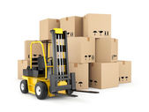 Forklift and cardboard boxes — Stock Photo