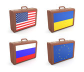 Suitcases with flags — Stock Photo