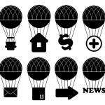 Hot air balloon icon set — Stock Photo #45792945