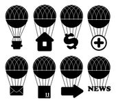 Hot air balloon icon set — Stock Vector