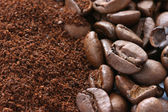Whole and ground coffee beans scattered on white background — Stock Photo