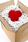 Red heart box — Foto de Stock